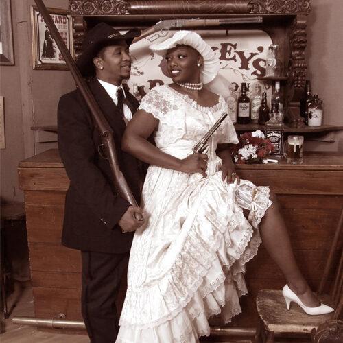 Vintage Style Wedding Portrait of a Couple