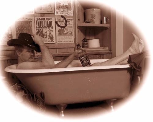 Portrait of a Man in a Vintage Bath