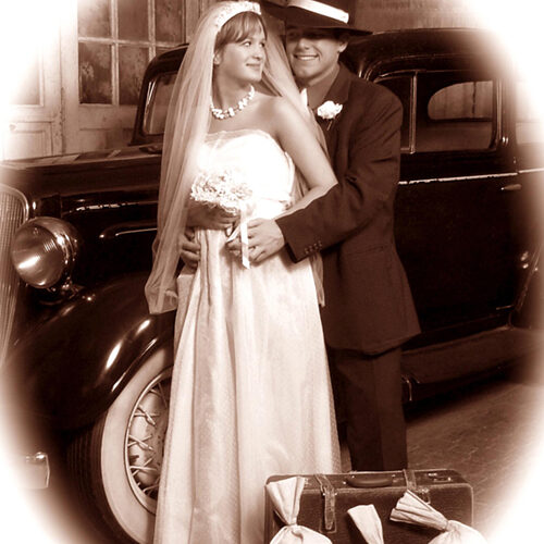 Married Couple Vintage Themed Portrait