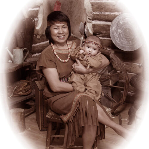 Mother and Baby in Native Costumes