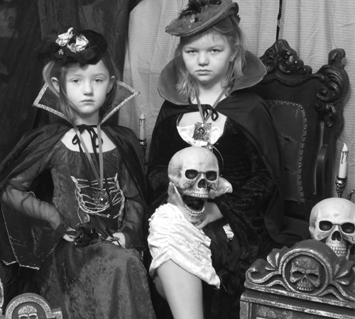 Witch Themed Portrait of Young Girls
