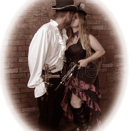 Young Couple in Steampunk Costumes