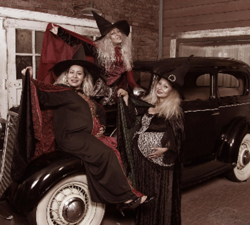 Three Woman Dressed as Witches