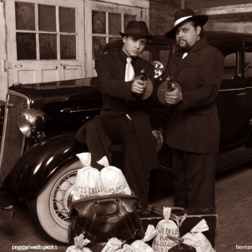 Father and Son Bank Heist Photoshoot