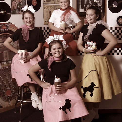 Girls in Vintage 50s Themed