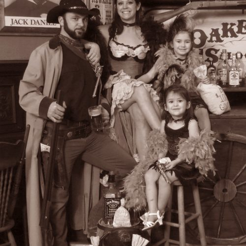 Family Dressed in Western Style Vintage