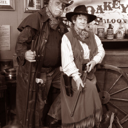 Old Couples in a Vintage Style Saloon Portrait