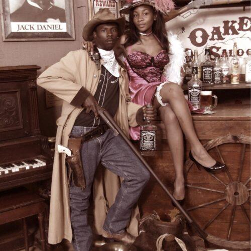 Couple in a Vintage Style Saloon Portrait