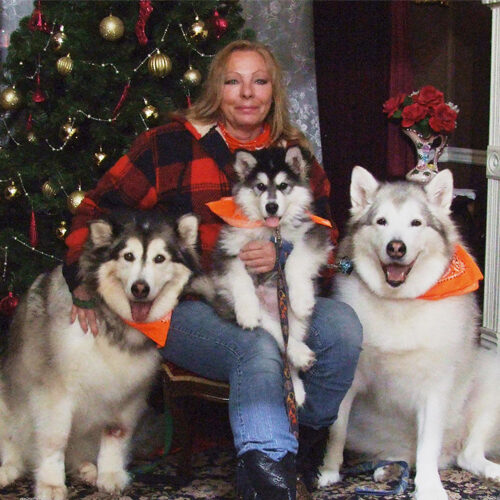 Woman and Her Three Dogs