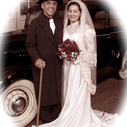 Couple Wearing Vintage Wedding Costumes