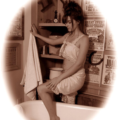 Young Woman in a Vintage Style Bath House
