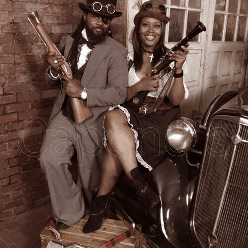 Couple Wearing Steampunk Costumes