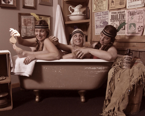 Three Young Women in a Vintage Bath House