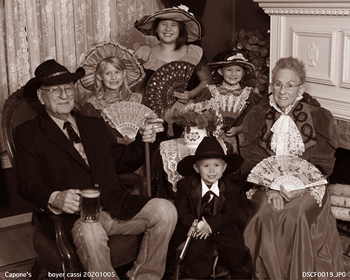 Family Wearing Victorian Outfit