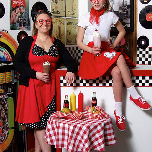 Two Ladies in 50s Outfit