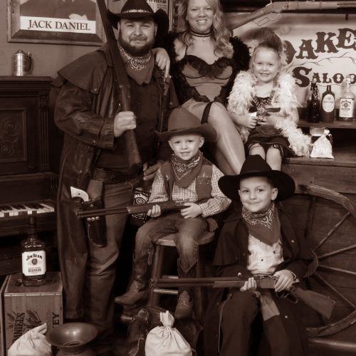 Happy Family in Vintage Style