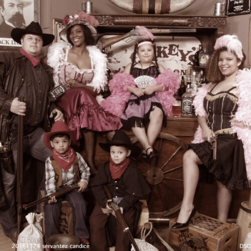 Family Dressed in Western Style