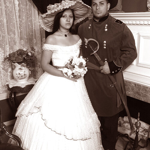 Couple Wearing Vintage Wedding Outfit